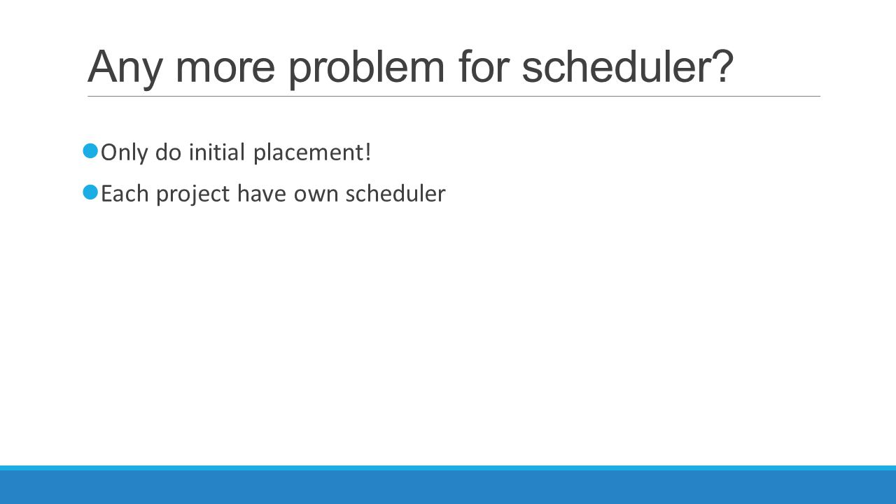 Any more problem for scheduler