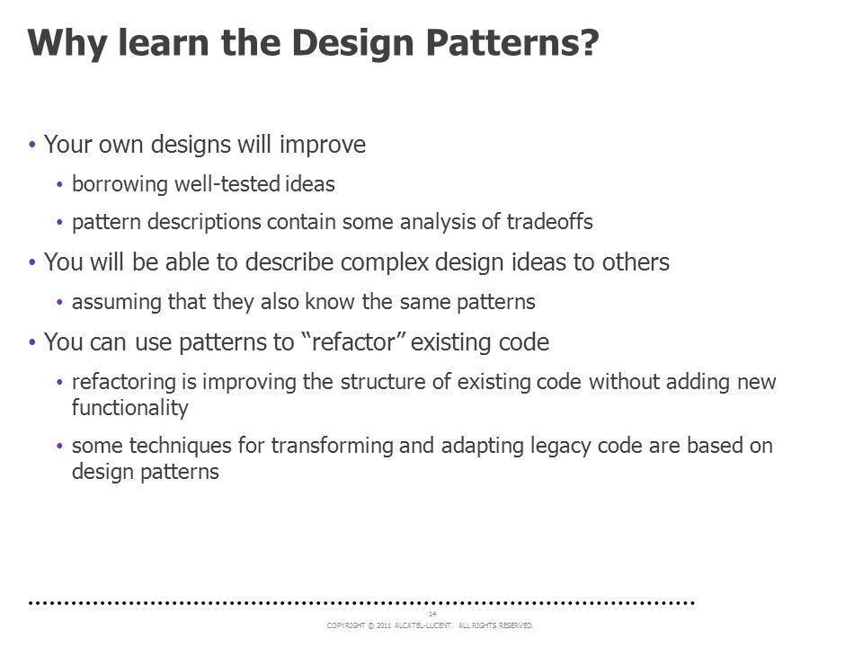 Why learn the Design Patterns