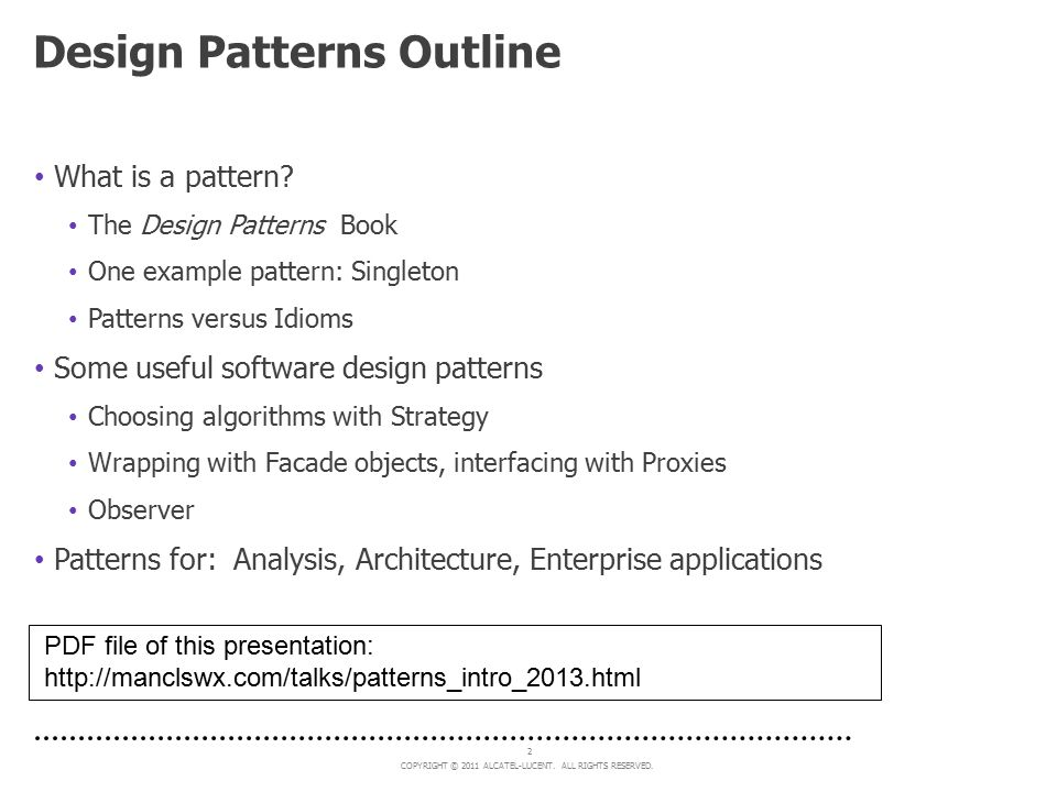 Design Patterns Outline