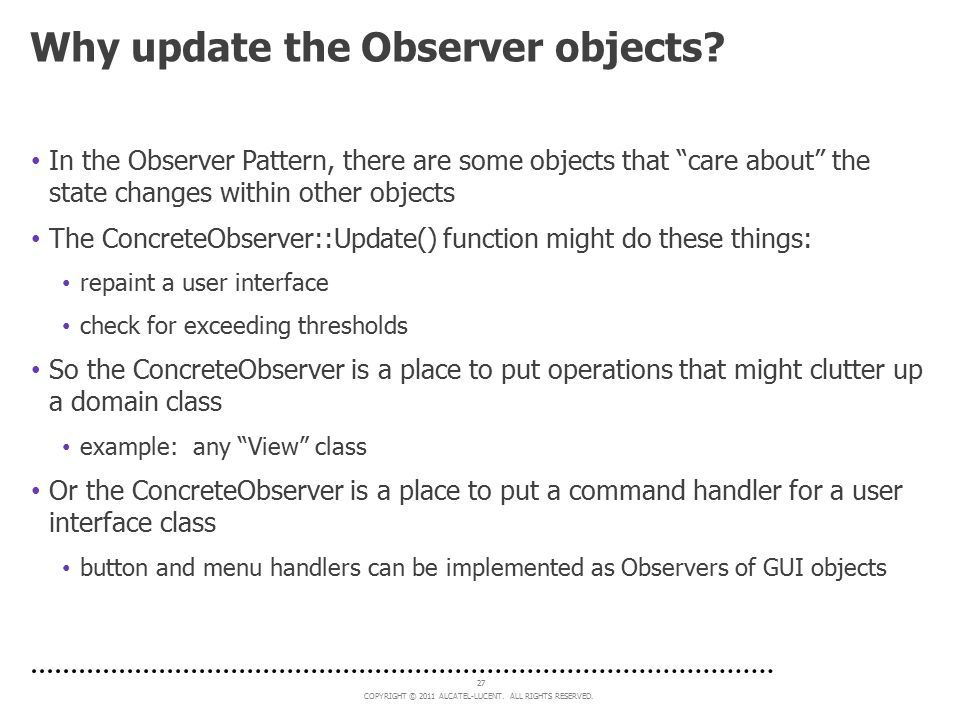 Why update the Observer objects