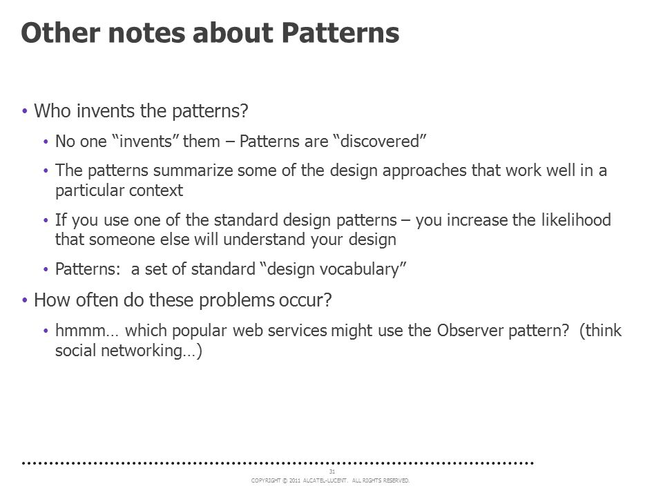 Other notes about Patterns