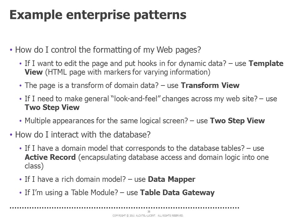 Example enterprise patterns