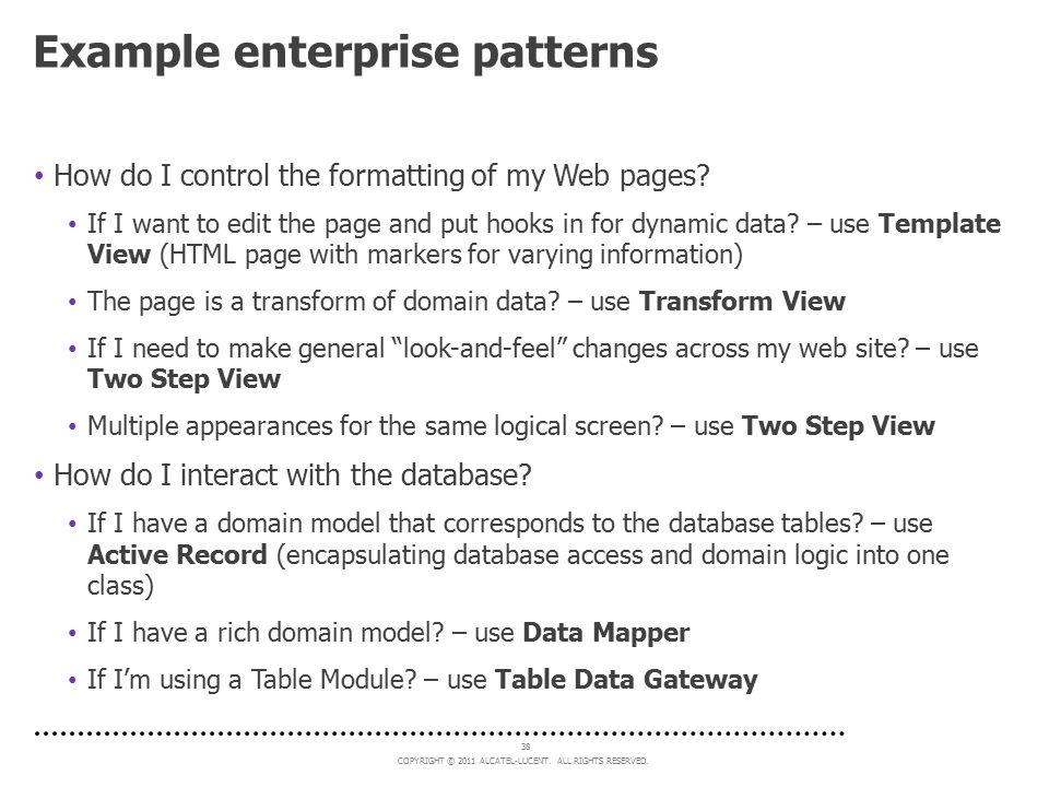 Example enterprise patterns