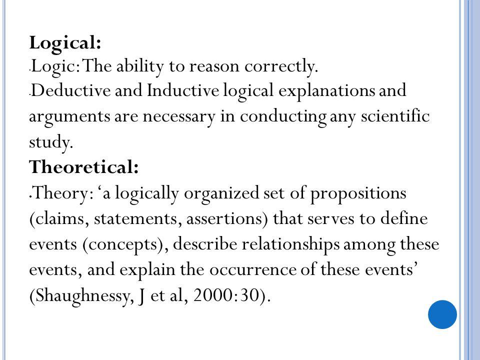 Logical: Logic: The ability to reason correctly.