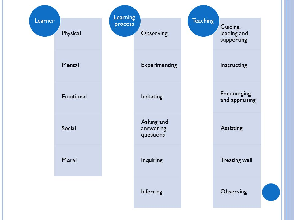 Learner Physical. Mental. Emotional. Social. Moral. Learning process. Observing. Experimenting.