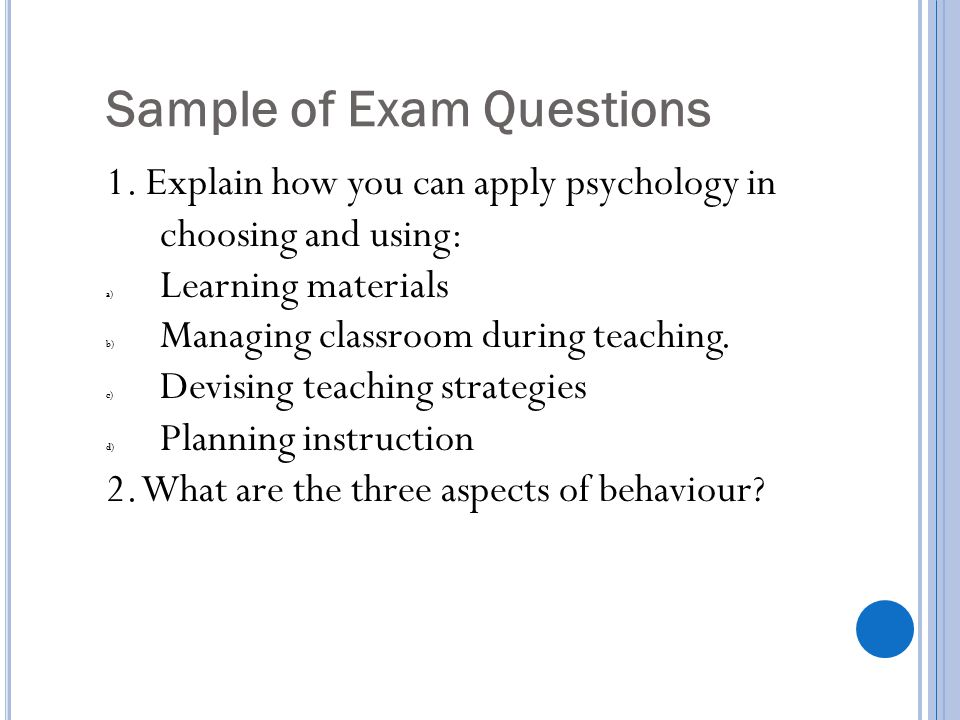 Sample of Exam Questions