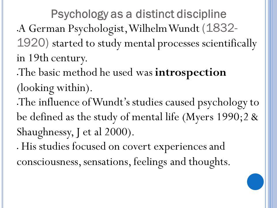 Psychology as a distinct discipline