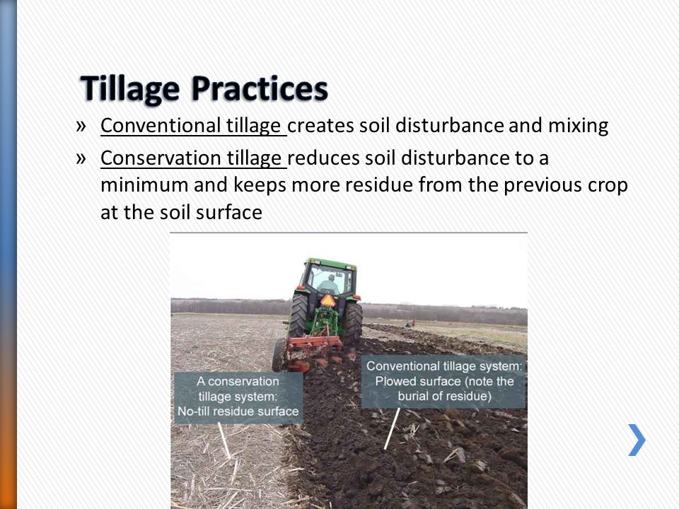 Tillage Practices Conventional tillage creates soil disturbance and mixing.