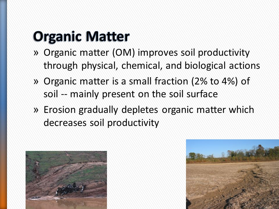 Organic Matter Organic matter (OM) improves soil productivity through physical, chemical, and biological actions.