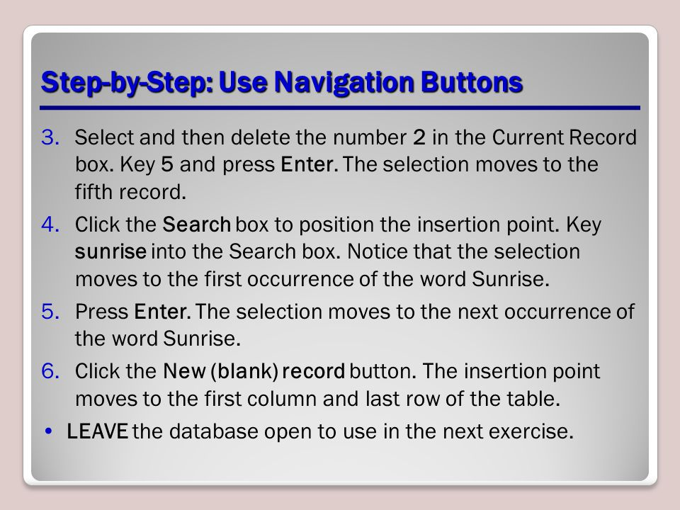 Step-by-Step: Use Navigation Buttons