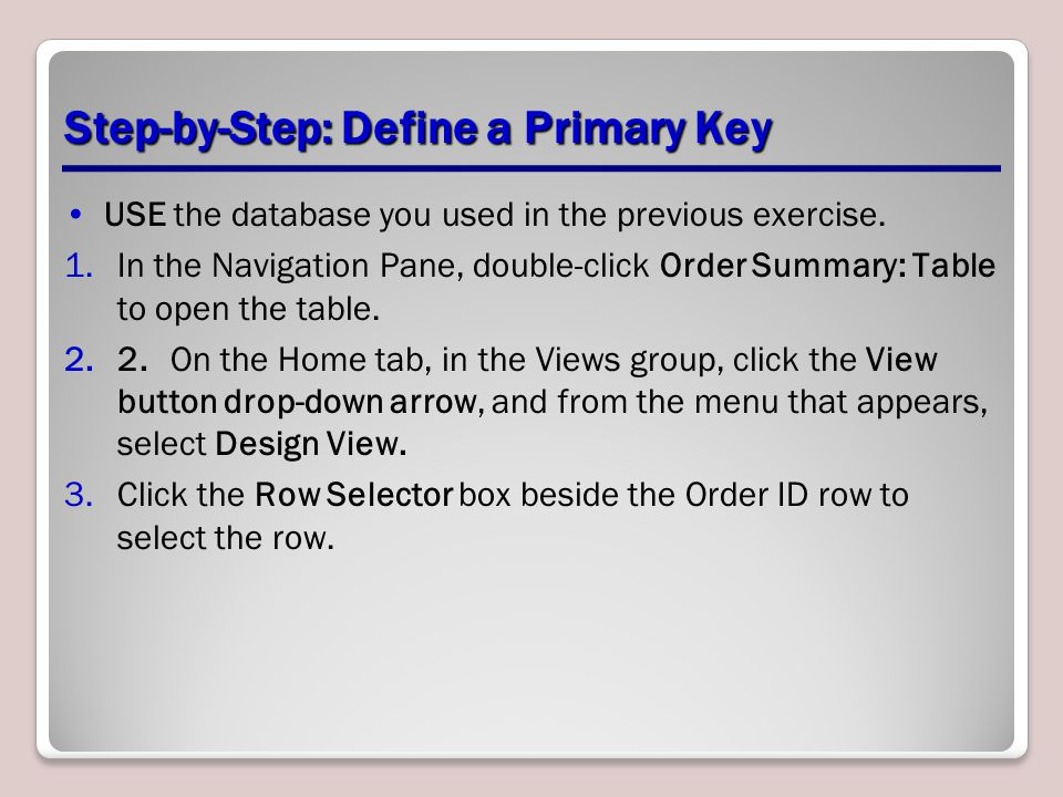Step-by-Step: Define a Primary Key