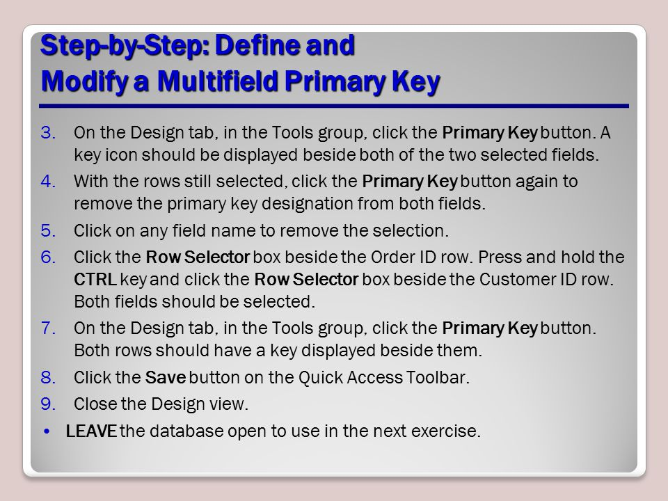 Step-by-Step: Define and Modify a Multifield Primary Key