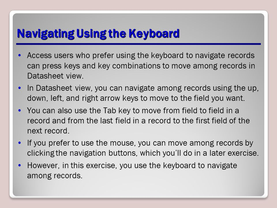 Navigating Using the Keyboard