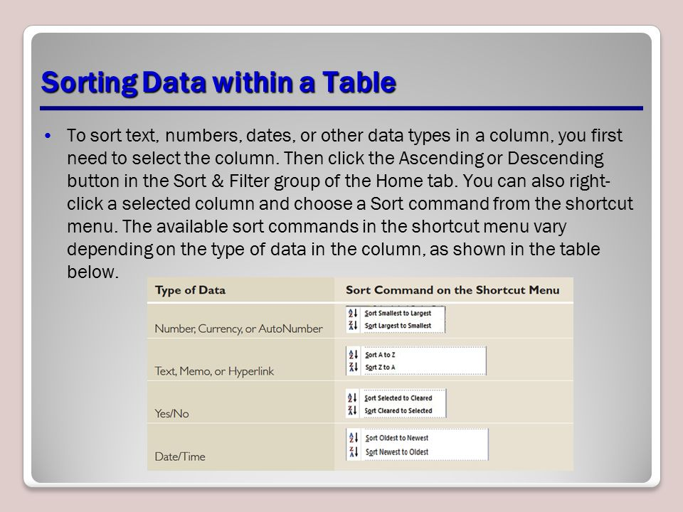 Sorting Data within a Table