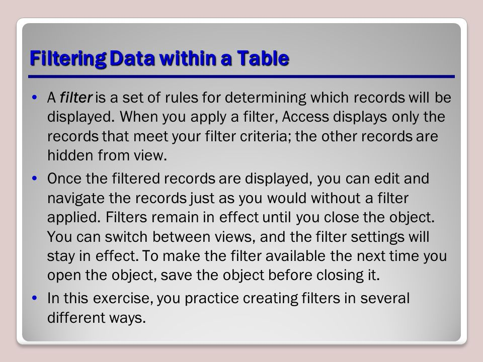 Filtering Data within a Table