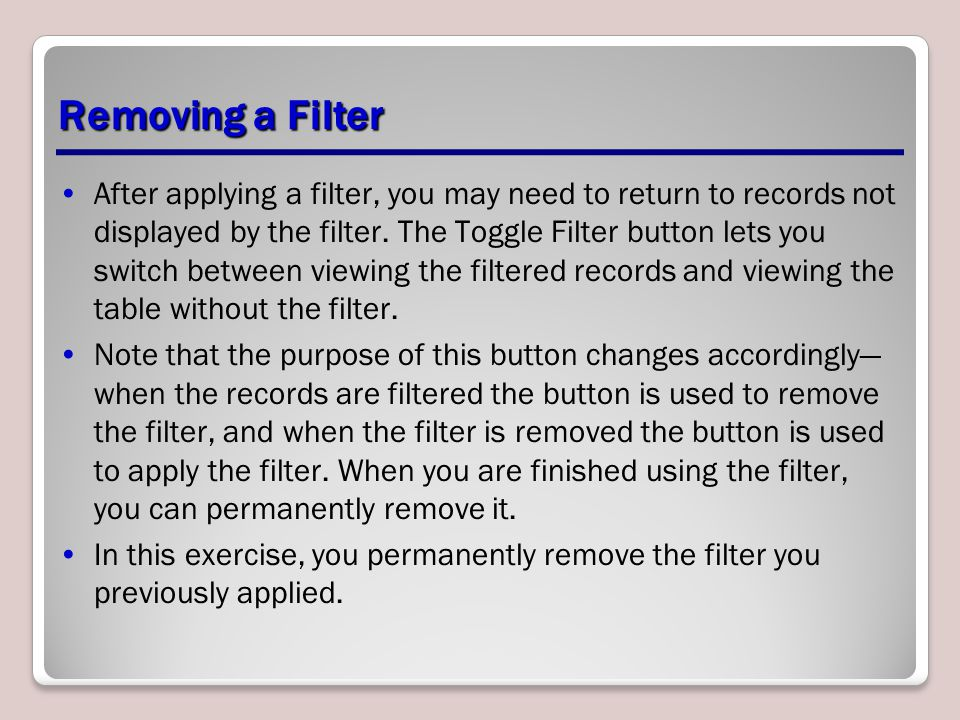 Removing a Filter