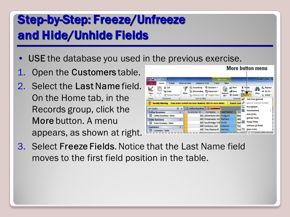Step-by-Step: Freeze/Unfreeze and Hide/Unhide Fields