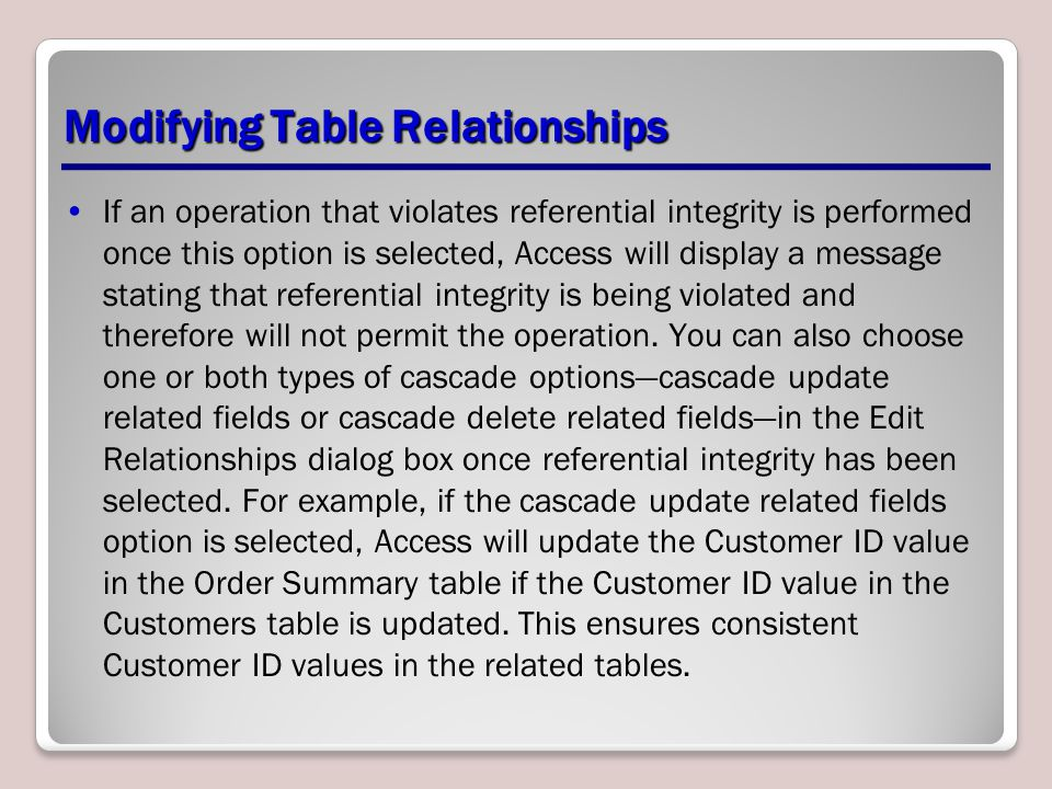 Modifying Table Relationships