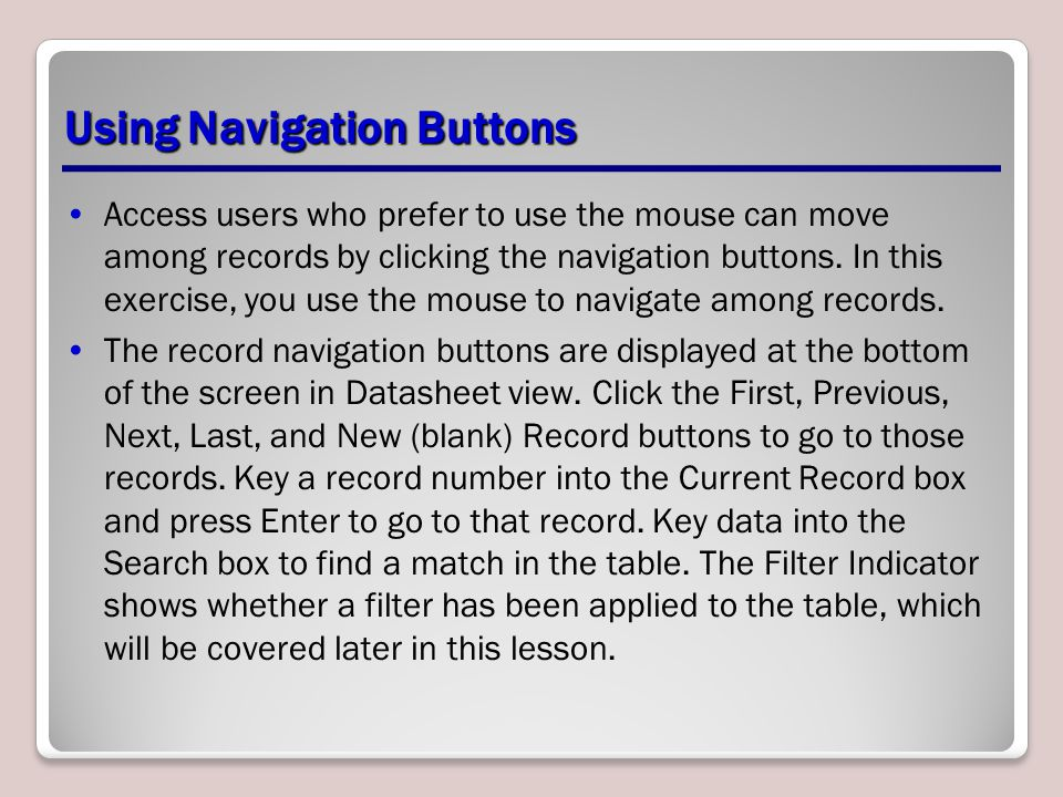 Using Navigation Buttons