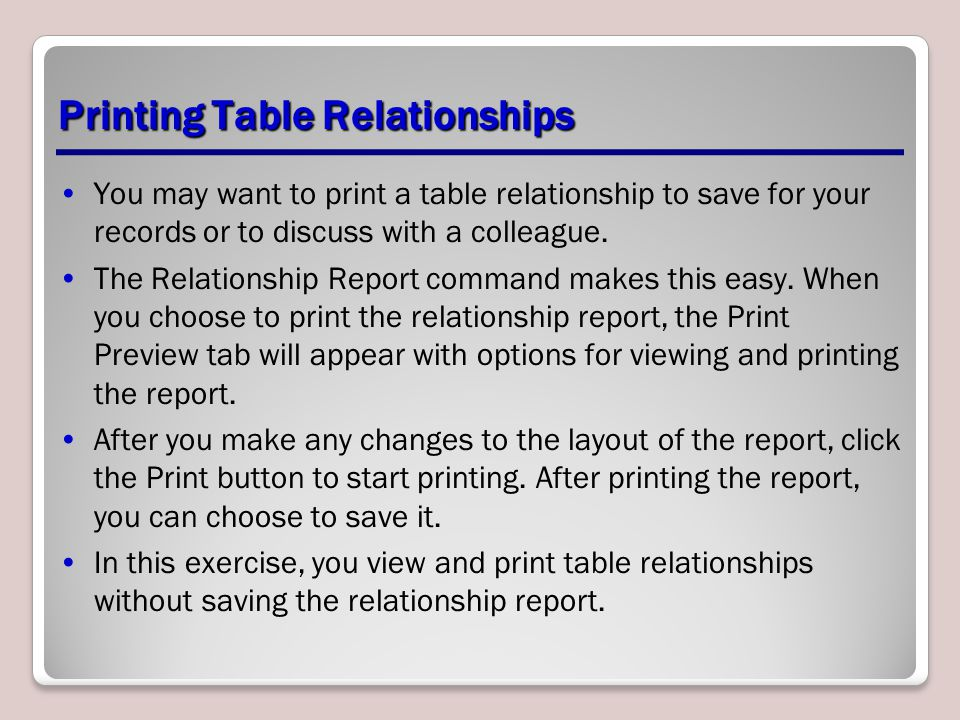 Printing Table Relationships