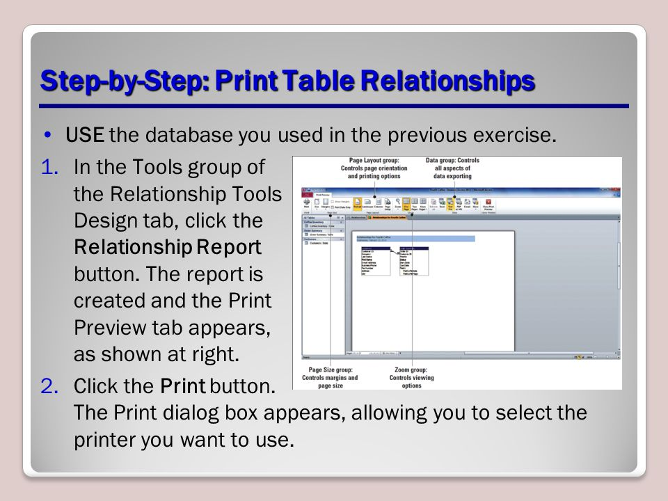 Step-by-Step: Print Table Relationships