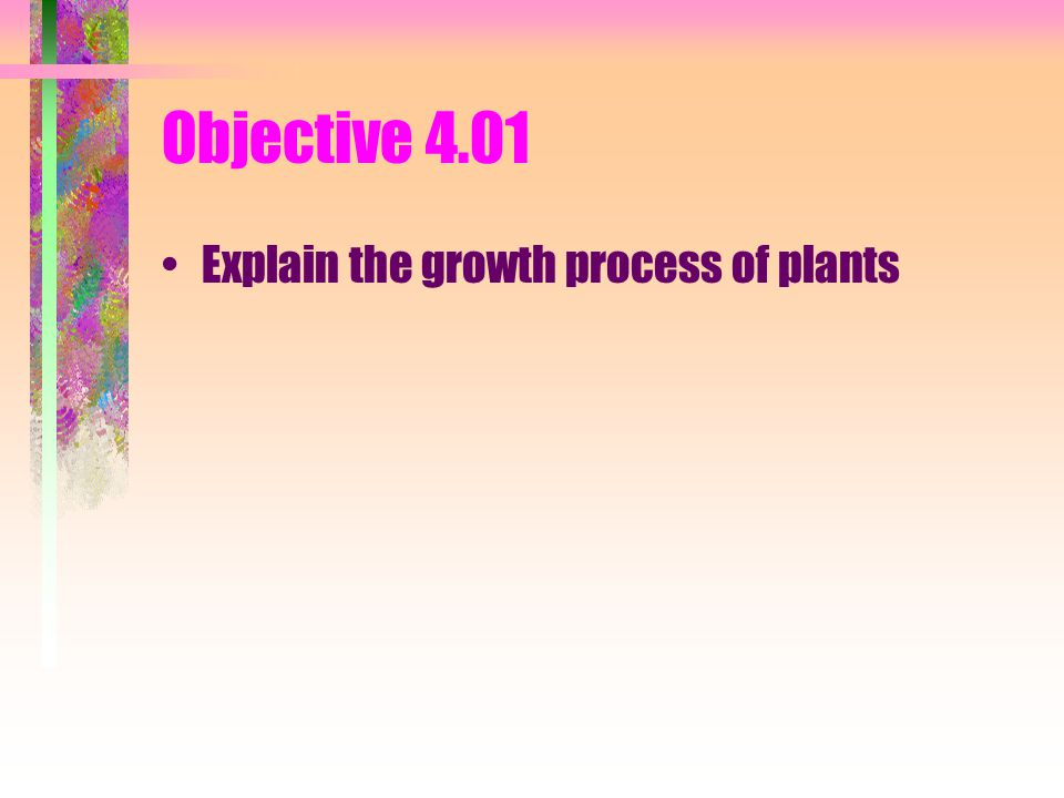 Objective 4.01 Explain the growth process of plants