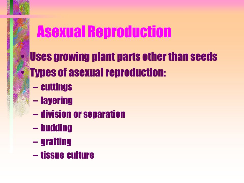 Asexual Reproduction Uses growing plant parts other than seeds
