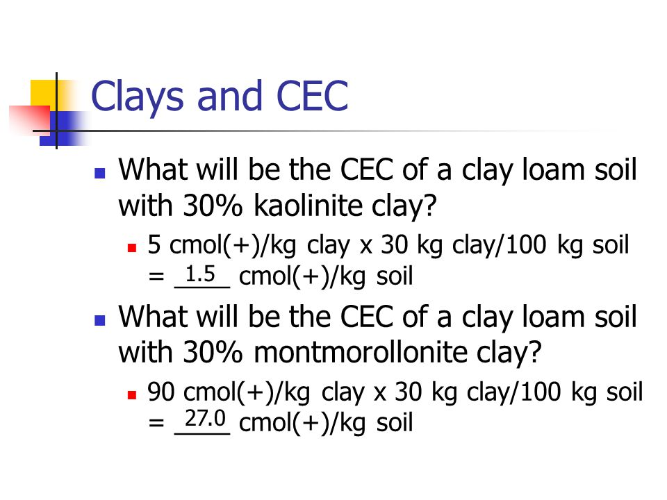 Clays and CEC What will be the CEC of a clay loam soil with 30% kaolinite clay 5 cmol(+)/kg clay x 30 kg clay/100 kg soil = ____ cmol(+)/kg soil.