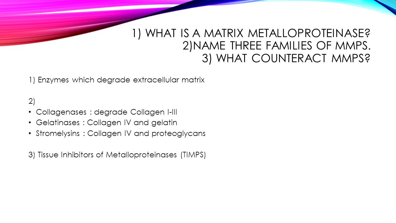 1) What is a matrix metalloproteinase. 2)Name three families of MMPs
