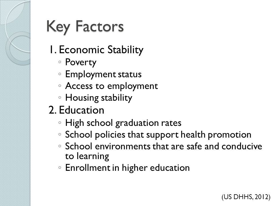 Key Factors 1. Economic Stability 2. Education Poverty