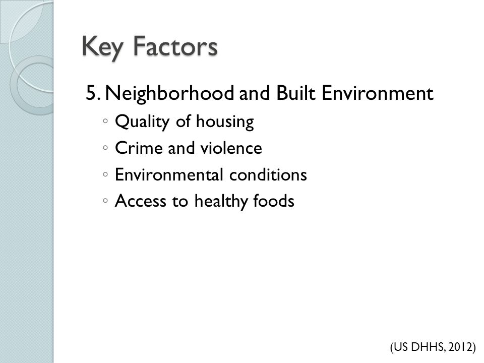 Key Factors 5. Neighborhood and Built Environment Quality of housing