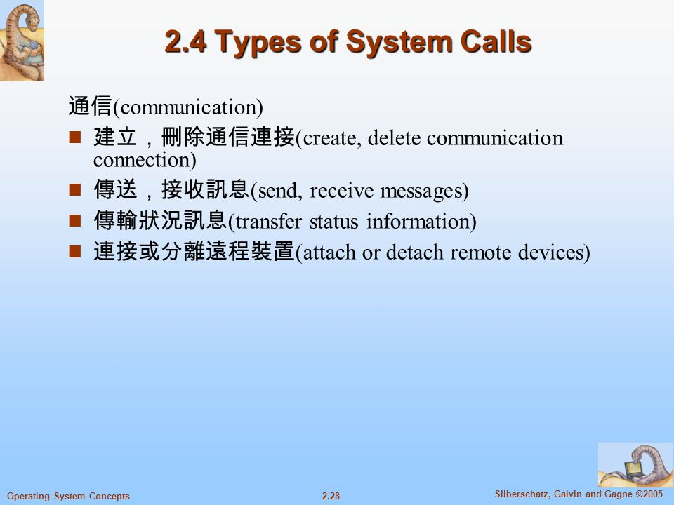 2.4 Types of System Calls 通信(communication)