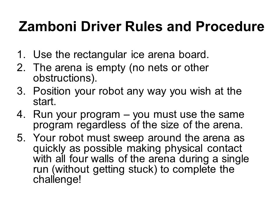 Zamboni Driver Rules and Procedure