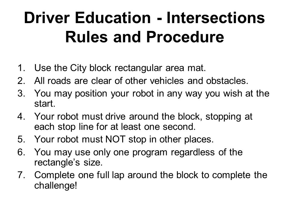 Driver Education - Intersections Rules and Procedure