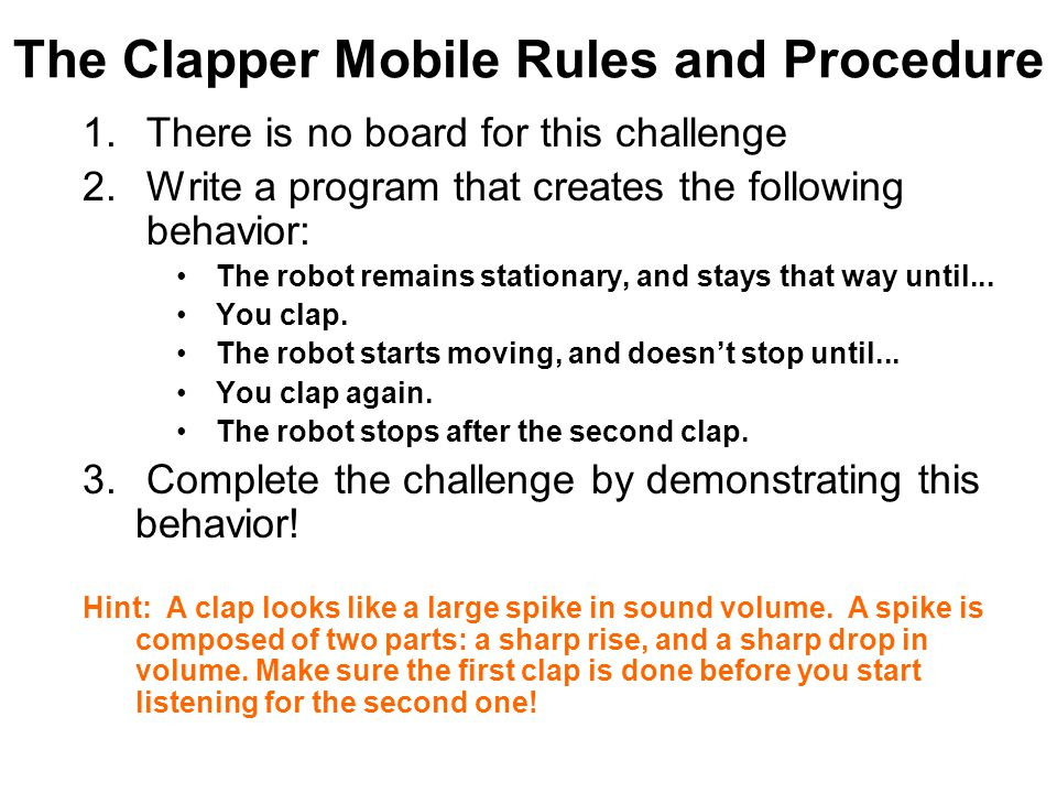 The Clapper Mobile Rules and Procedure