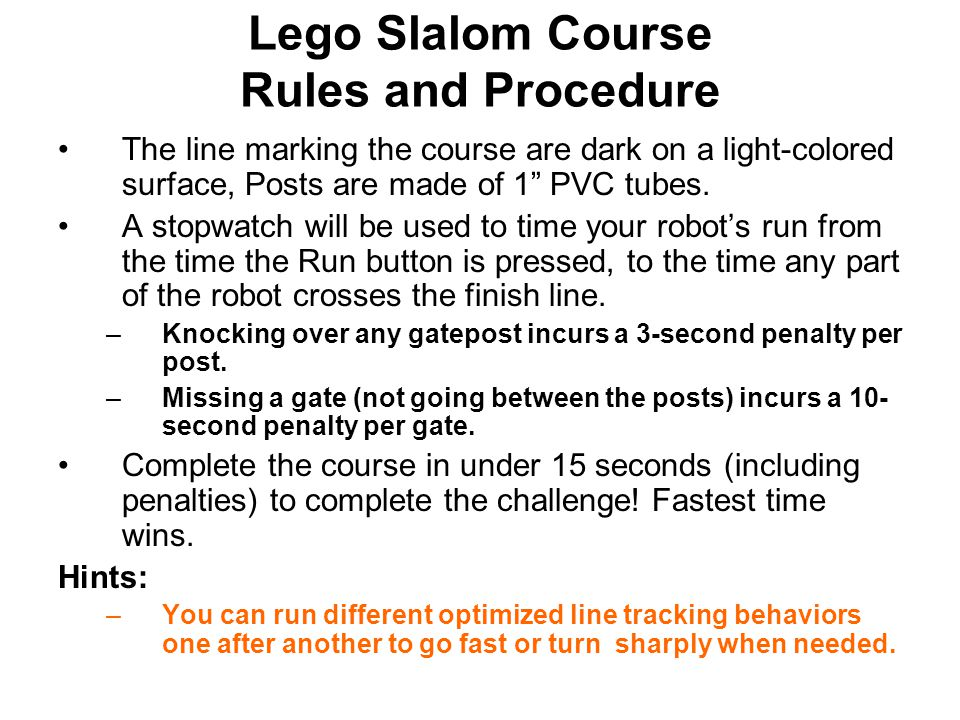 Lego Slalom Course Rules and Procedure
