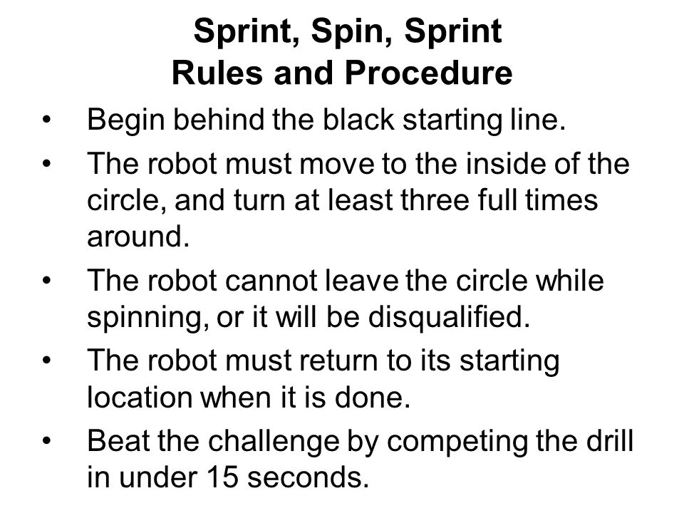 Sprint, Spin, Sprint Rules and Procedure