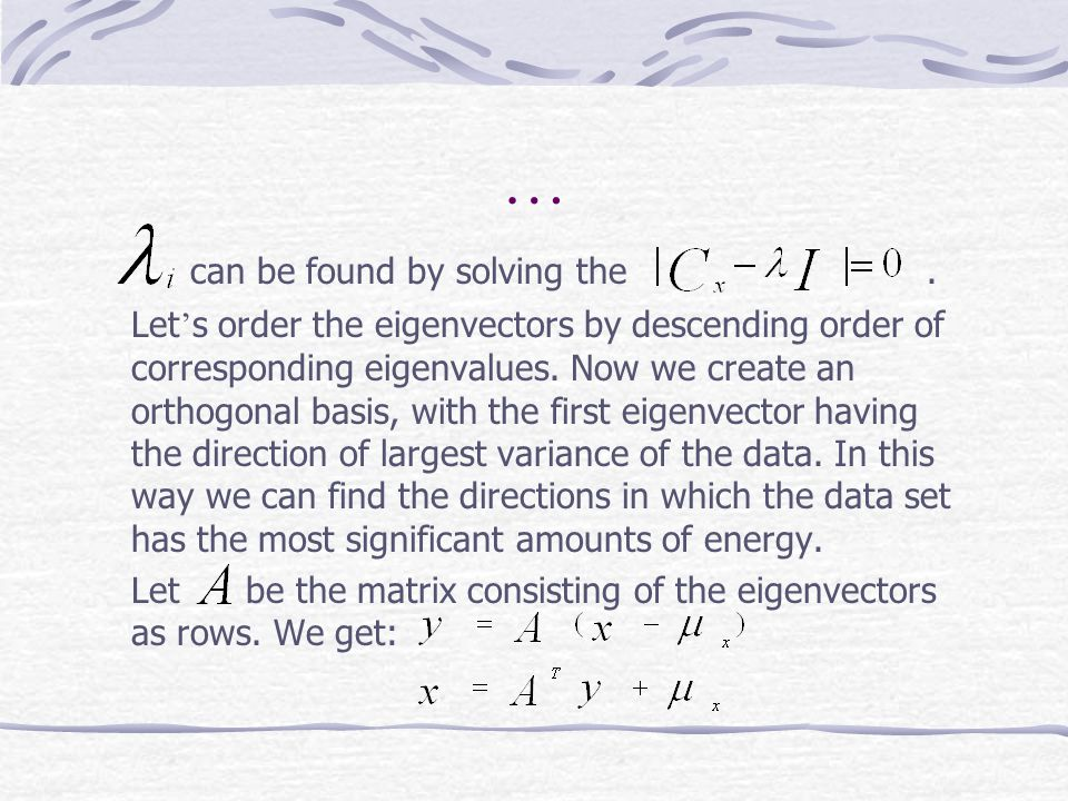 … can be found by solving the .