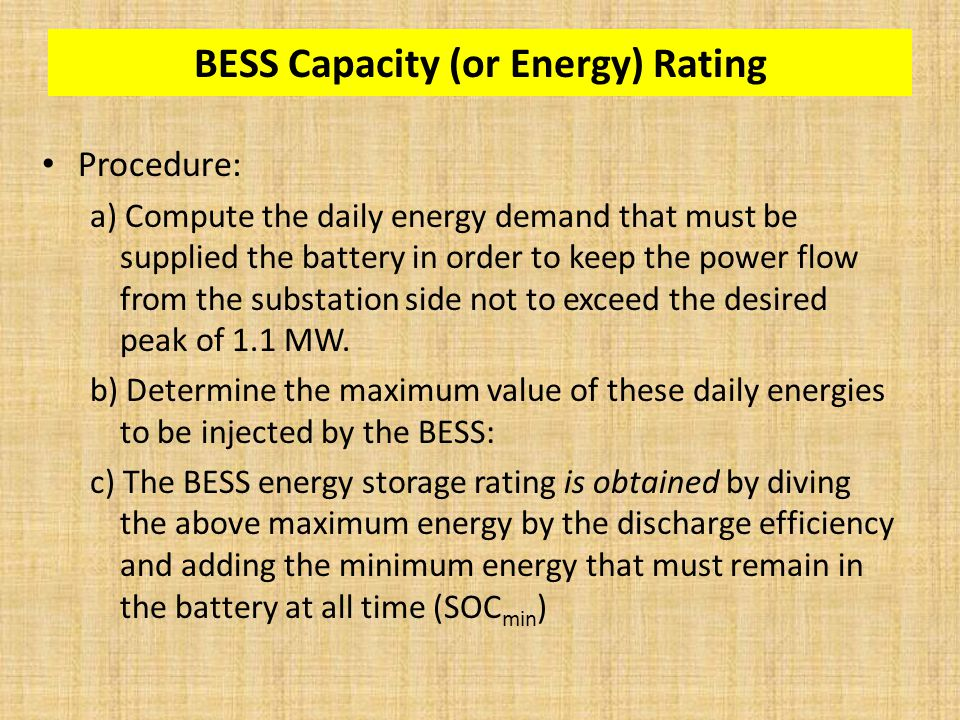 BESS Capacity (or Energy) Rating