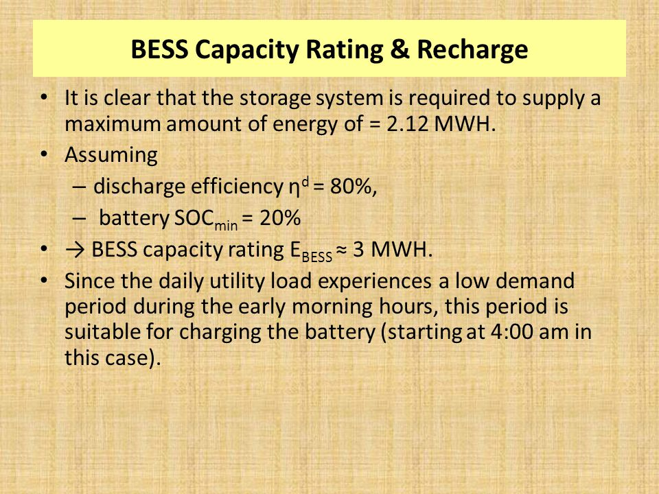 BESS Capacity Rating & Recharge