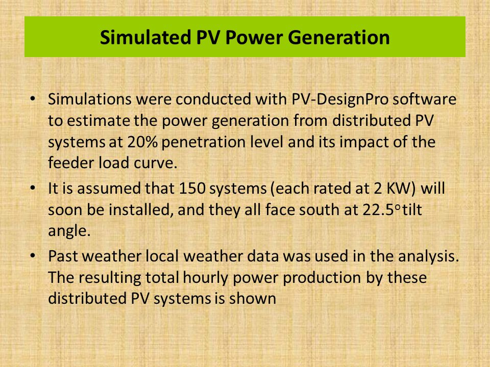 Simulated PV Power Generation