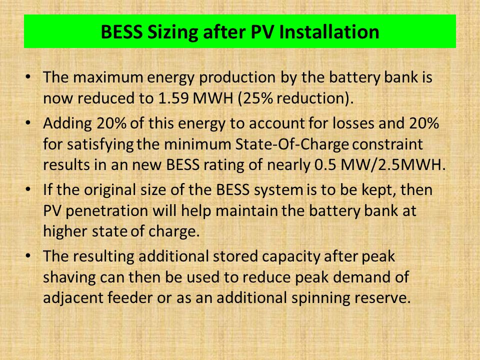 BESS Sizing after PV Installation