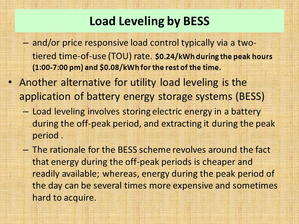 Load Leveling by BESS