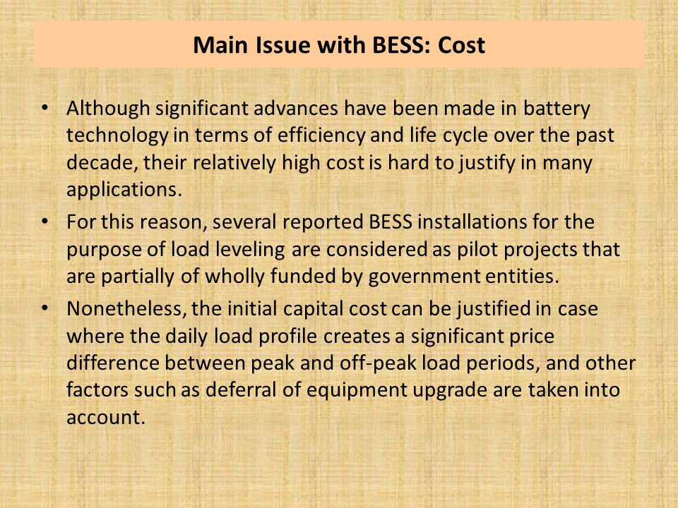 Main Issue with BESS: Cost