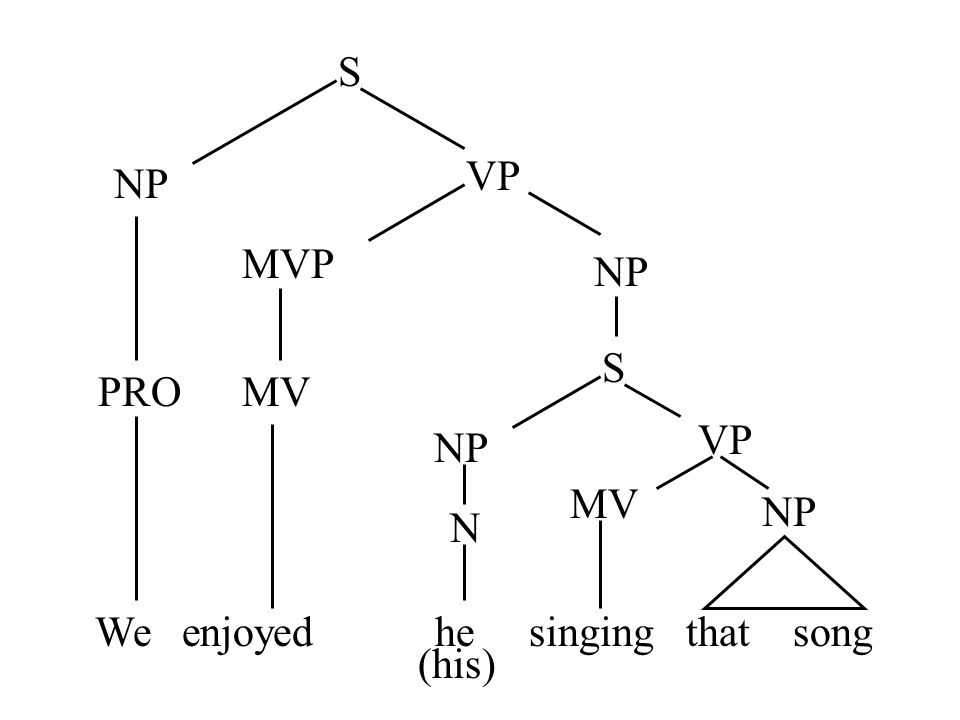 S VP NP MVP NP S PRO MV VP NP MV NP N We enjoyed he singing that song (his)