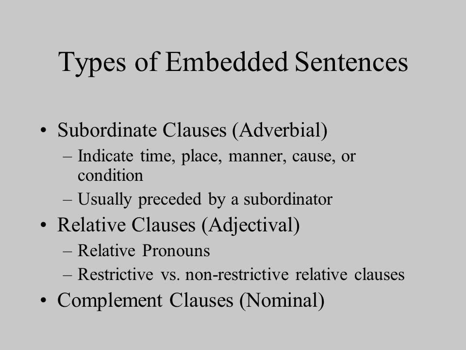Types of Embedded Sentences