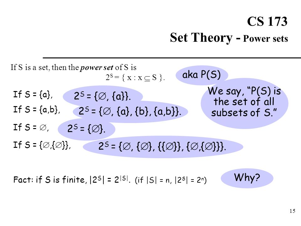 CS 173 Set Theory - Power sets