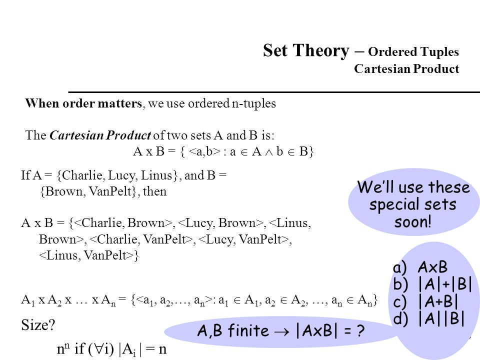 Set Theory – Ordered Tuples Cartesian Product