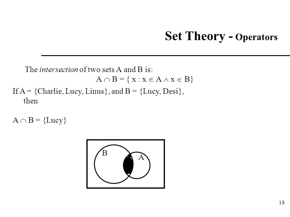Set Theory - Operators The intersection of two sets A and B is: