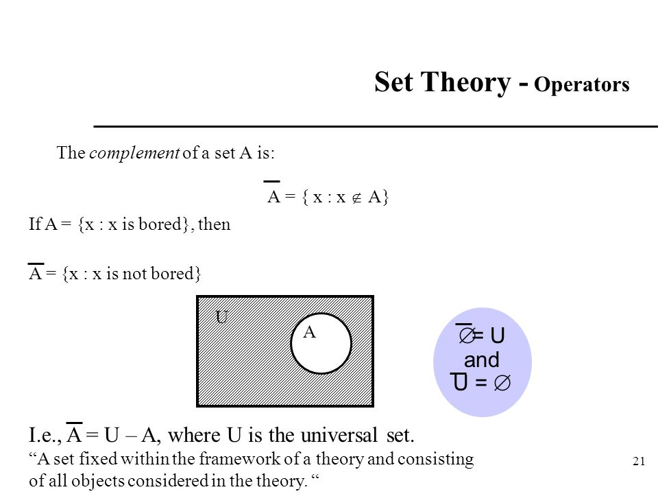 Set Theory - Operators = U and U = 